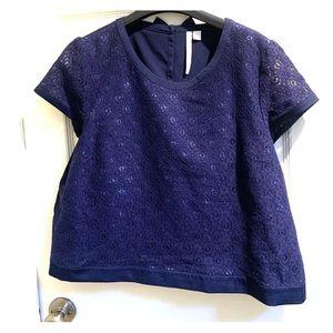 LC Lauren Conrad Lace Crop Top Blue